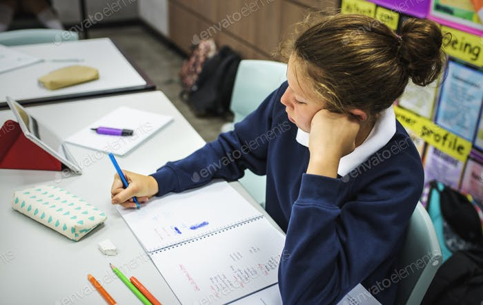 Student woman studying in the clsaarom