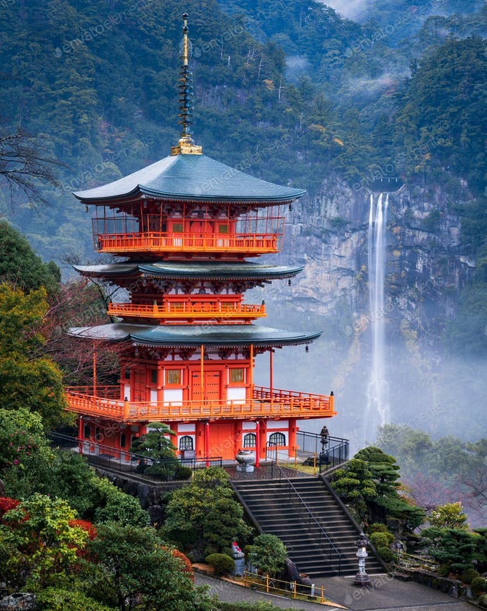 Nachi waterfall with red pagoda, Nachi, Wakayama, Japan