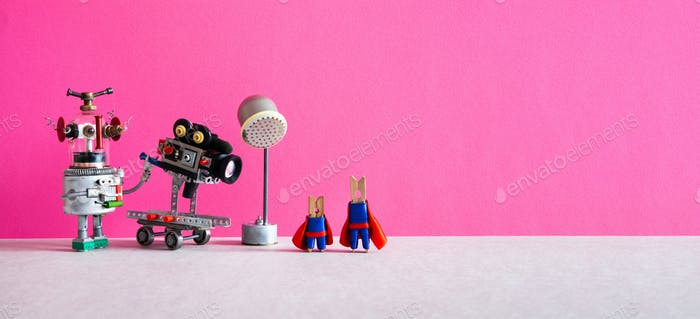 Toy robot cameraman makes a movie about super heroes