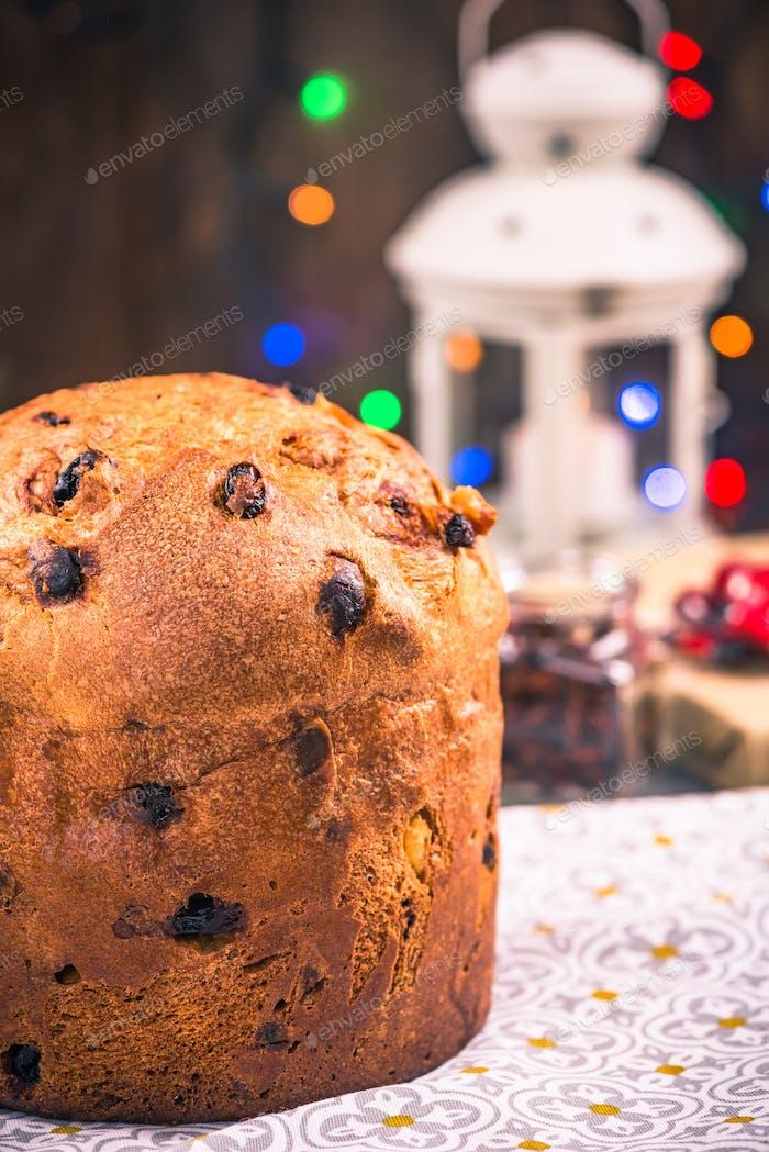 Panettone cake on festive table