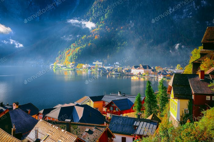 Views over roofs of the lake and Hallstatter and Hallstatt Luthe