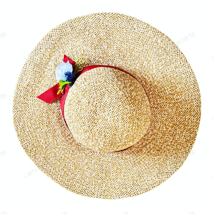top view of wide brim straw hat isolated on white