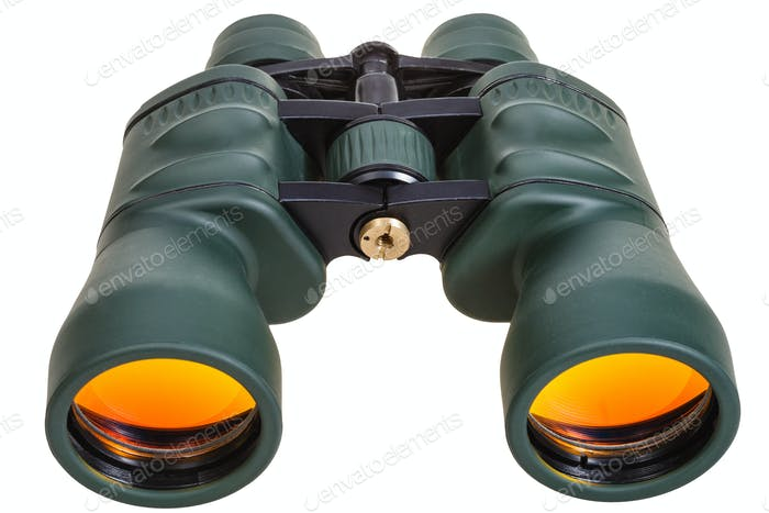 green binoculars with yellow glasses isolated