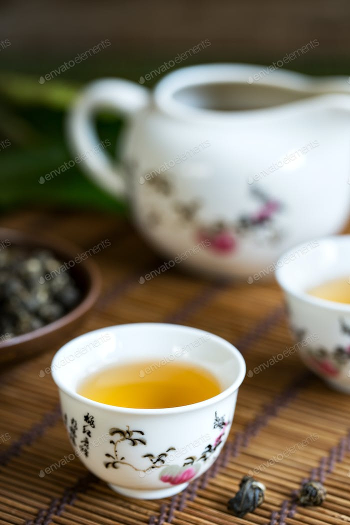 Oolong Pearl Tea  in a  Traditional Chinese Tea pot