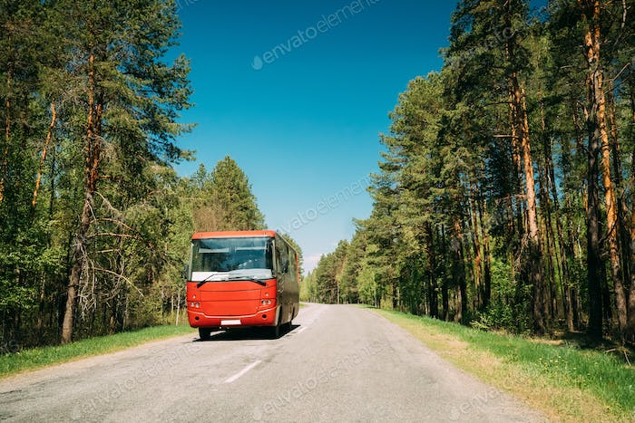 Bus In Motion On Country Road. Motion Cars On Freeway In Europe.