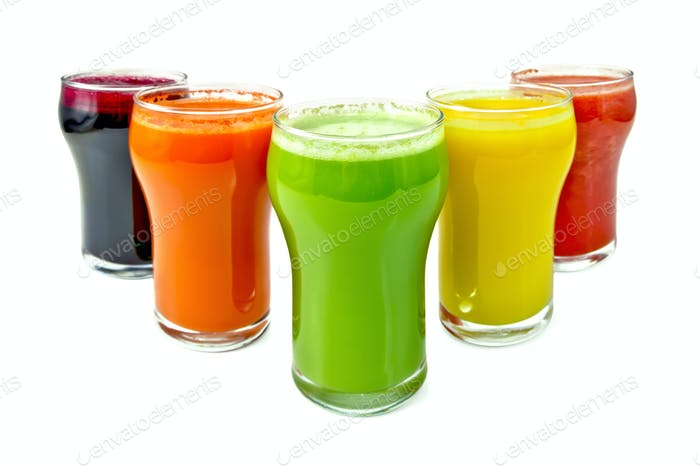 Juice vegetable in five glassful