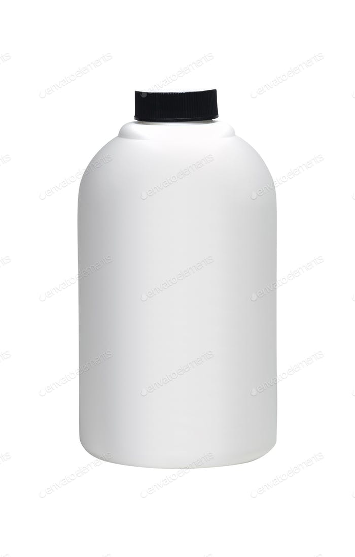 close up of a white bottle on white background