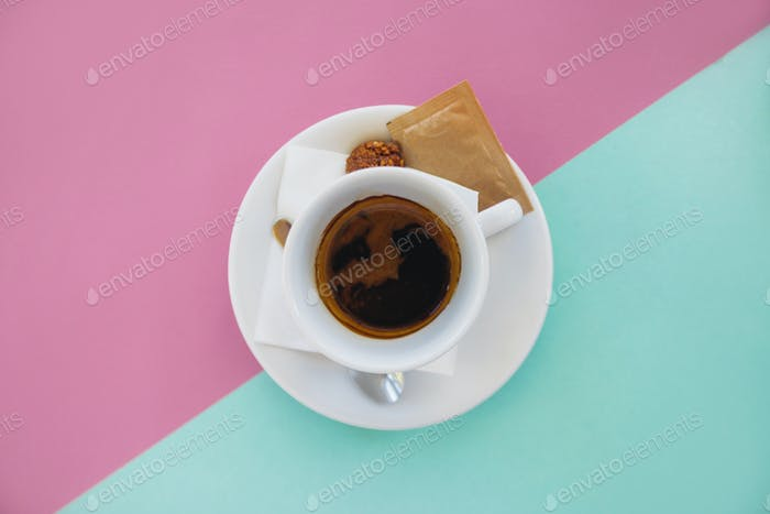 Coffee On Blue And Pink Background