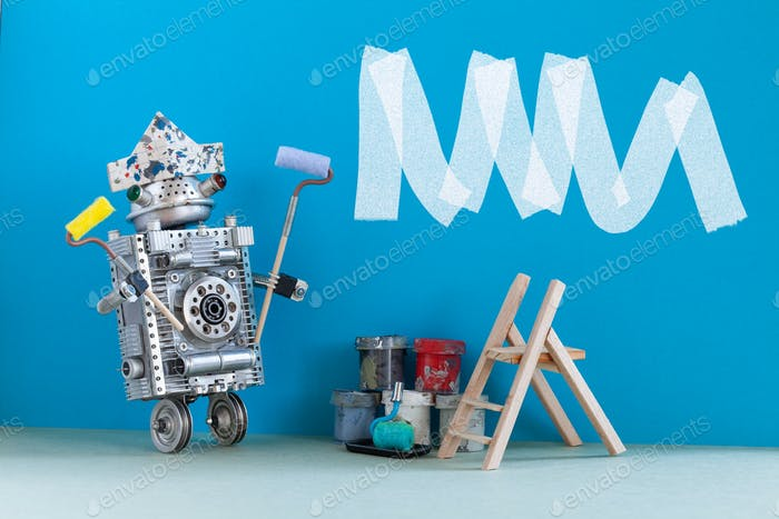 Painter decorator at work. Robot designer with paint roller and buckets.
