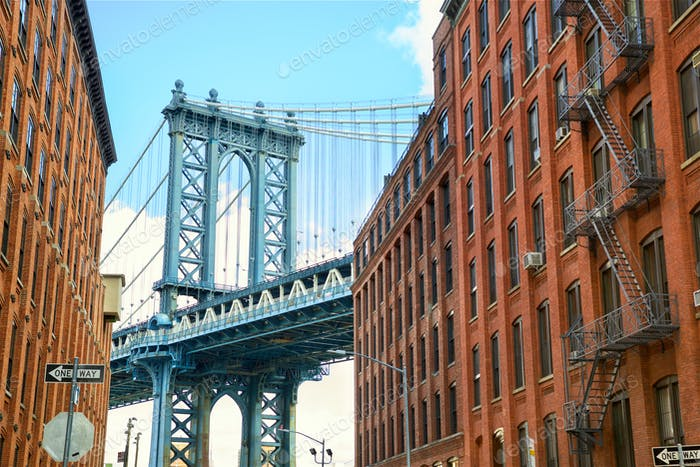 Manhattan Bridge in Brooklyn Street