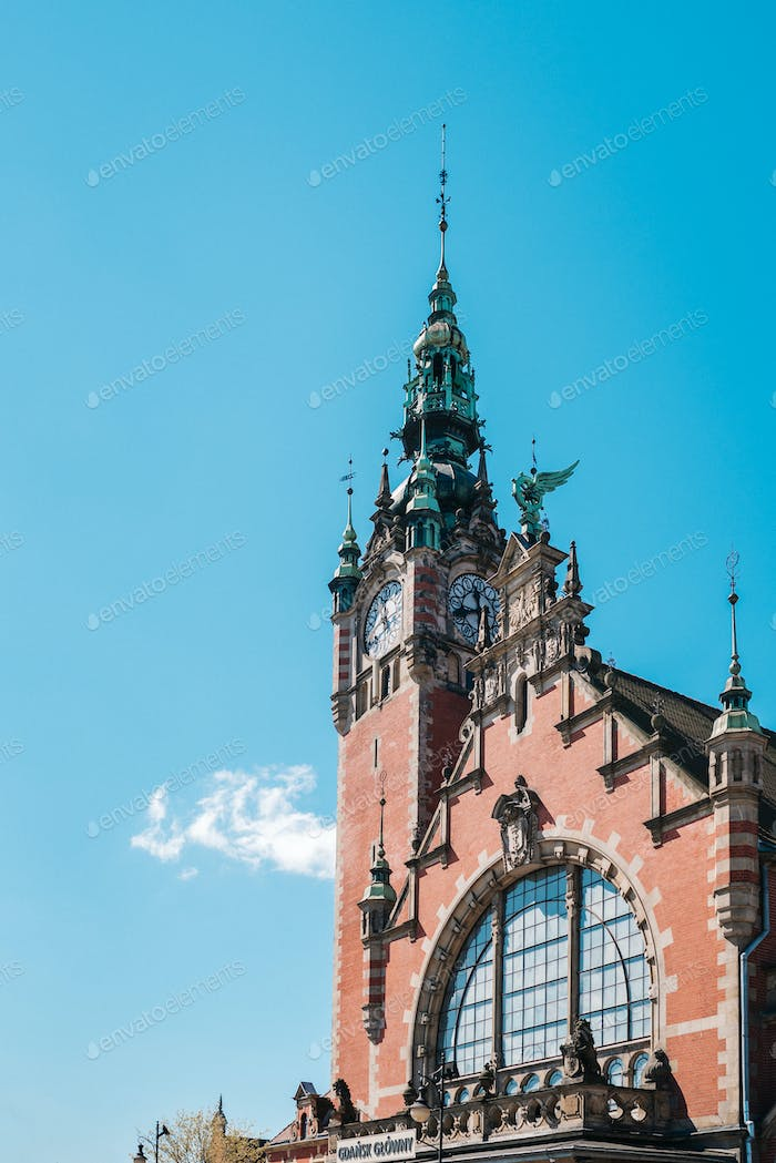 building of the main railway station in gdansk poland
