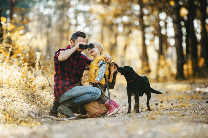 A mature father with a dog and a toddler son in an autumn forest, using binoculars.