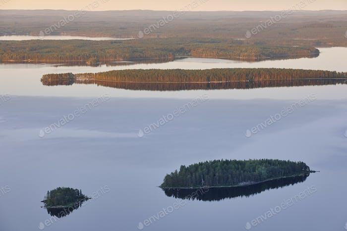 Finnish landscape at sunset. Lake Pielinien. Koli viewpoint. Finland scenic