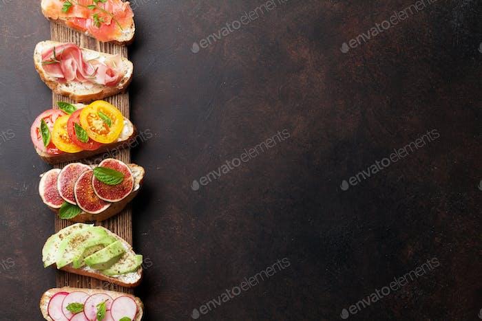 Brushetta or traditional spanish tapas