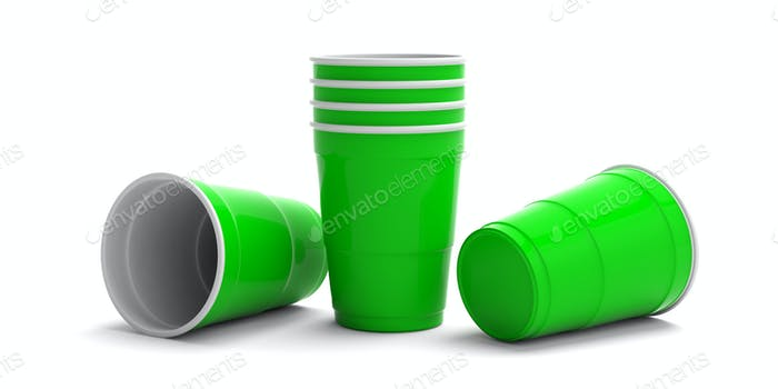 Plastic bright green color cups isolated on white background. 3d illustration
