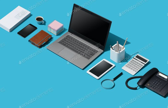 Corporate business desktop with laptop