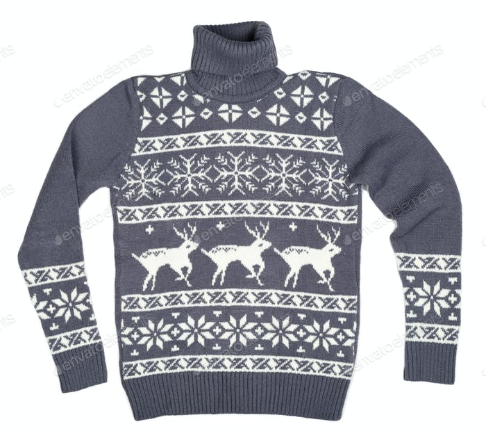 Gray sweater with deer