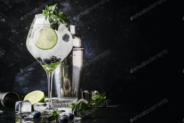 Summer alcoholic cocktail blueberry mojito with rum, green mint, lime and crushed ice