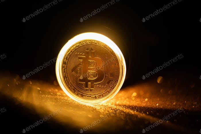 Símbolo de pago símbolo de icono de Bitcoin fondo dorado