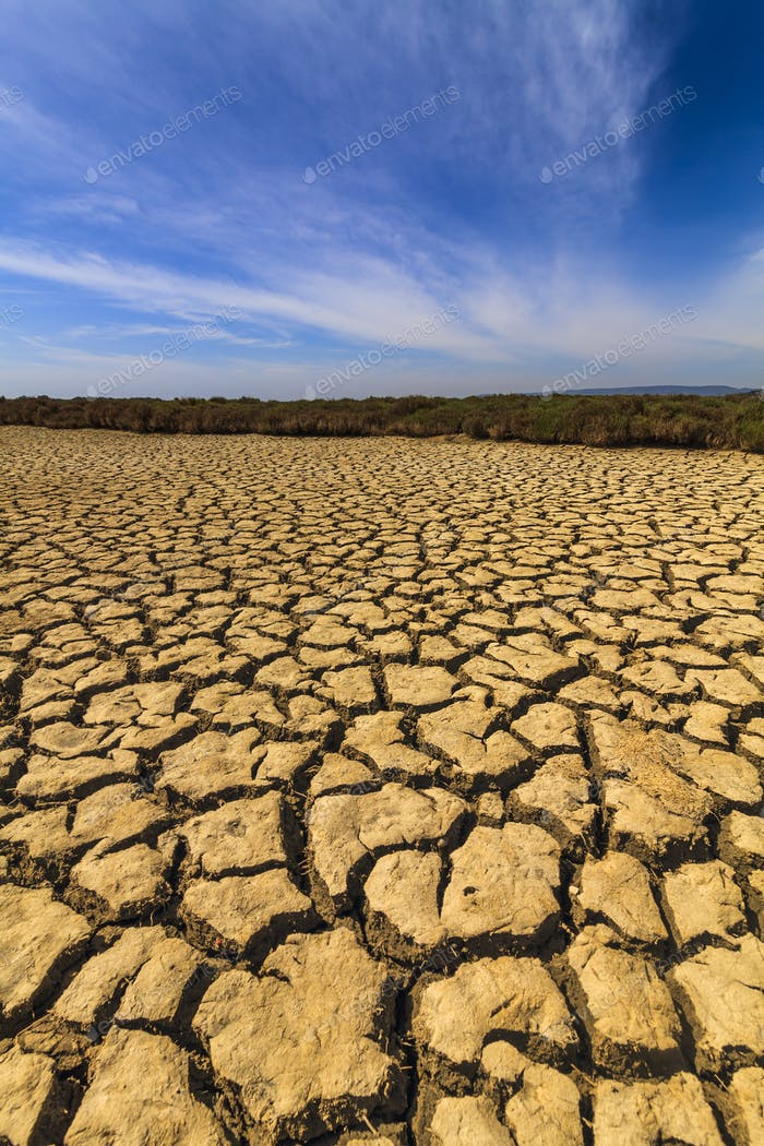 Dry cracked earth under the blue sky. Drought
