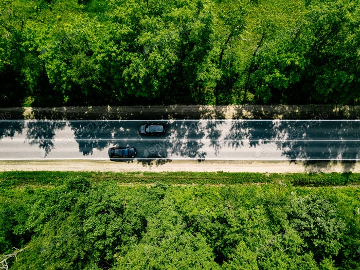 Aerial view of road with cars going through green forest.