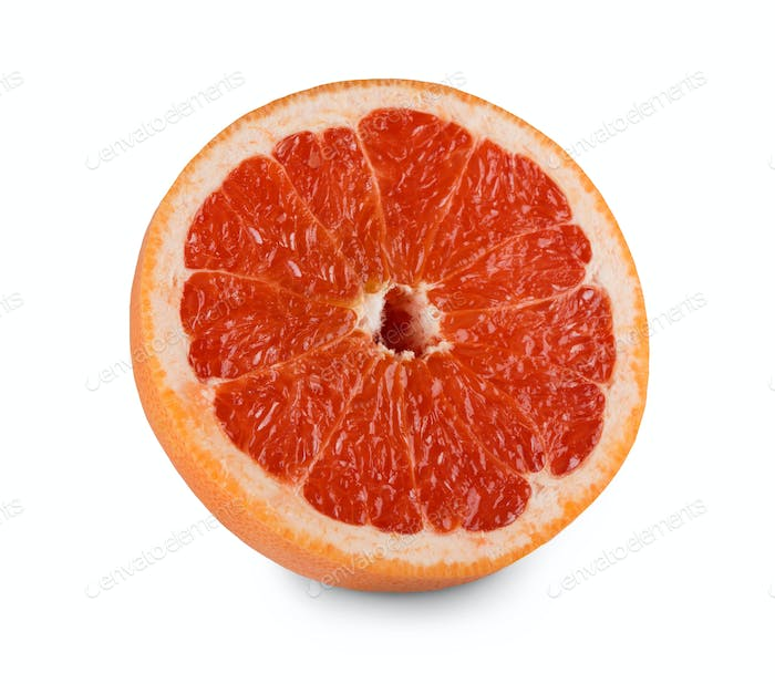 One fresh grapefruit citrus fruit closeup isolated on white background
