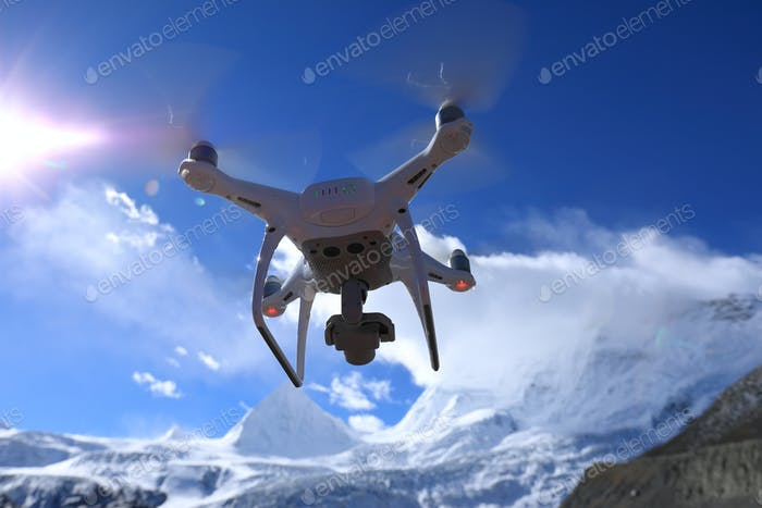 Flying drone taking picture of glacier in Tibet,China