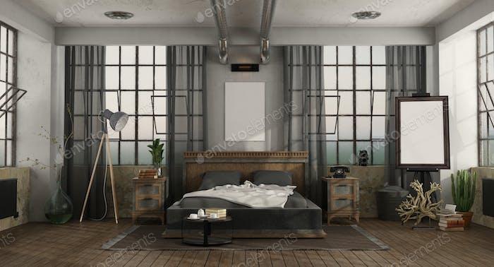 Hauptschlafzimmer mit Doppelbett in einem Loft