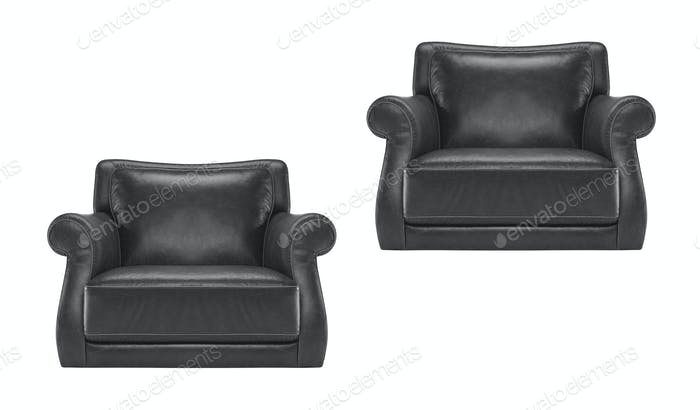 antique black leather chair isolated