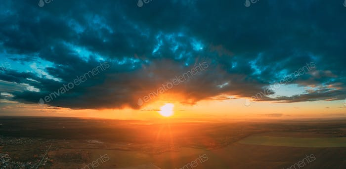 Aerial View Of Sunshine In Sunrise Bright Dramatic Sky. Scenic Colorful Sky At Dawn. Sunset Sky