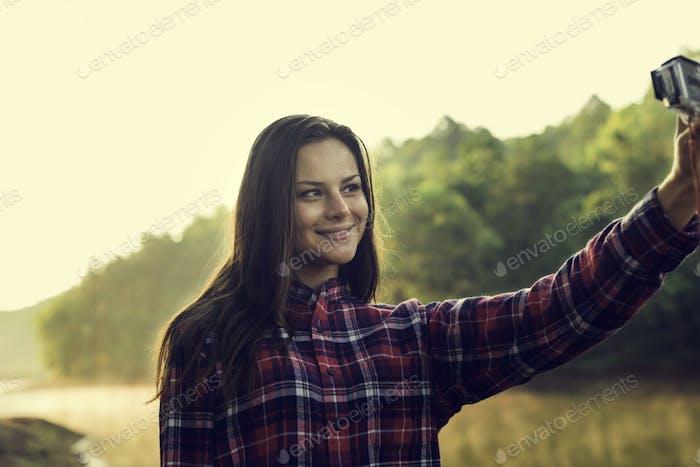 Woman Traveling Destination Trekking Adventure Camera Selfie Con