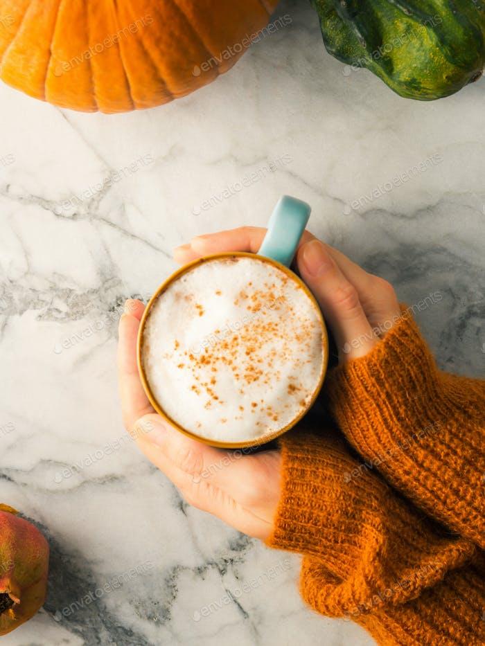 Autumn flat lay with mug of latte coffee