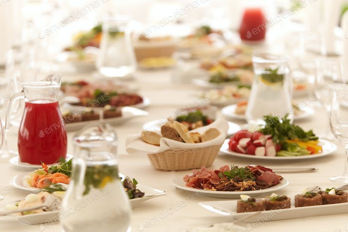 Close-up image of a festive table with different dishes.