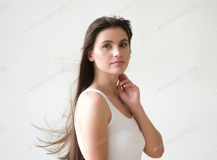 Woman casual portrait brunette female long hair natural make up