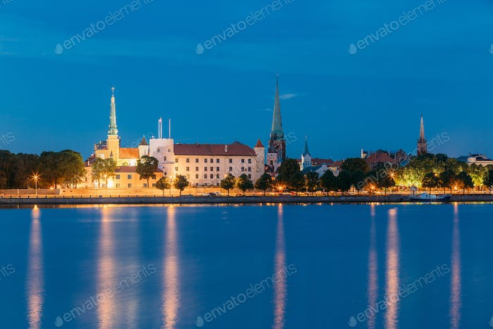 Riga, Latvia. Panoramic Picturesque Urban View Of Daugava Or Western Dvina River In Central Part Of