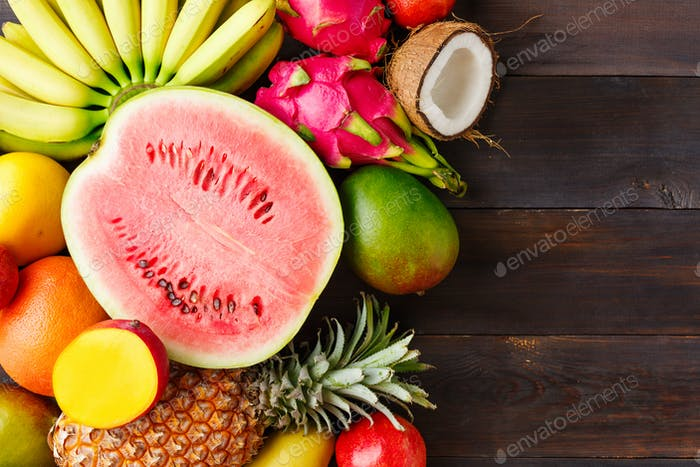 Summer background with ripe fruit