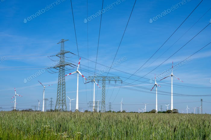 Power lines, electricity pylons and wind turbines