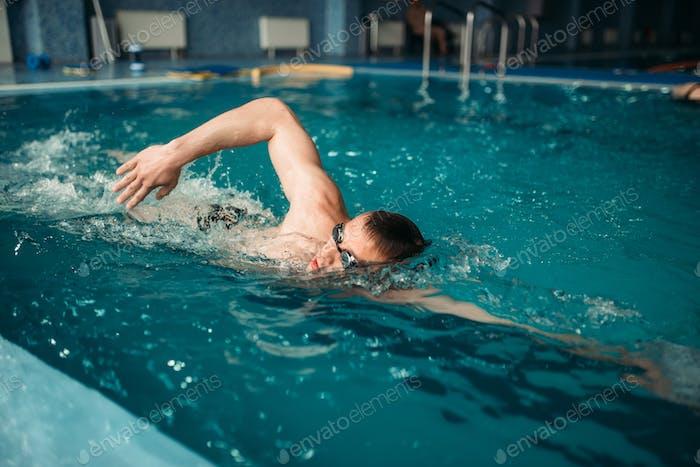 Männliche Schwimmer schwimmt auf dem Training im Schwimmbad