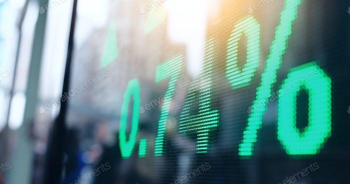 Visualización del mercado de valores mostrando índice en la ciudad