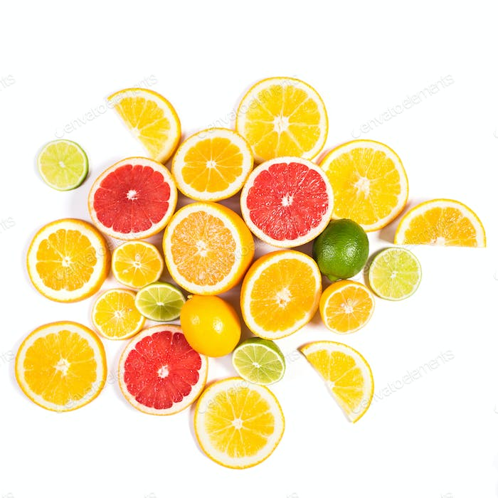 Citrus background. Assorted fresh citrus fruit. Isolated