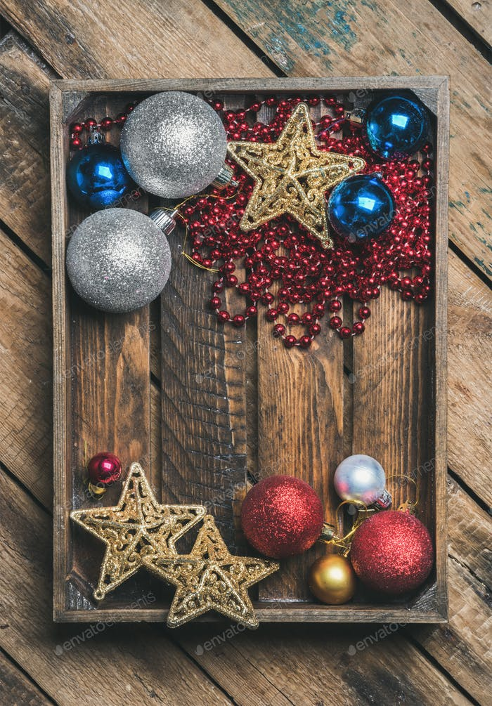 Thumbnail for Christmas or New Year holiday decoration background in wooden box