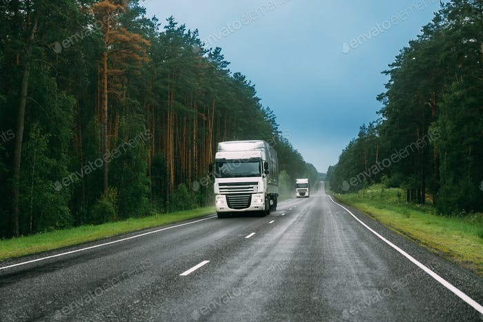 Truck Tractor Unit, Prime Mover, Traction Unit In Motion On Road