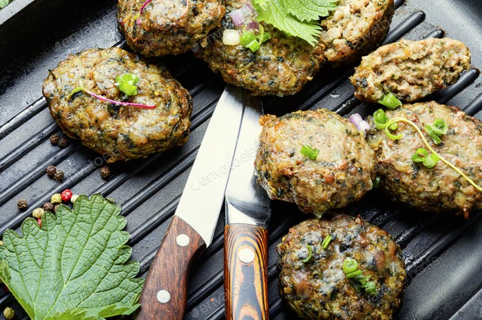 Meat cutlets with nettles.