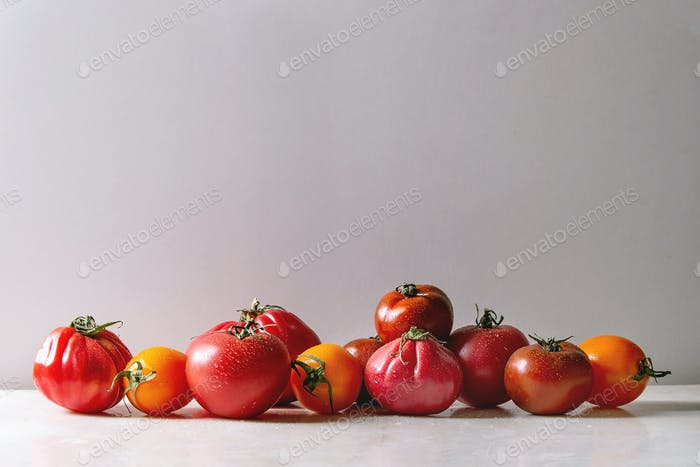 Variety of ripe tomatoes