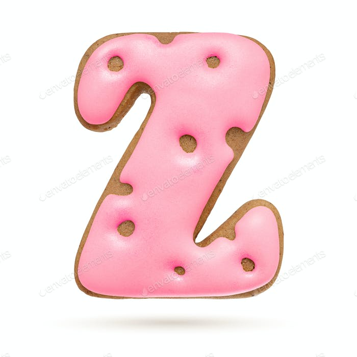 Capital letter Z. Pink gingerbread biscuit isolated on white.