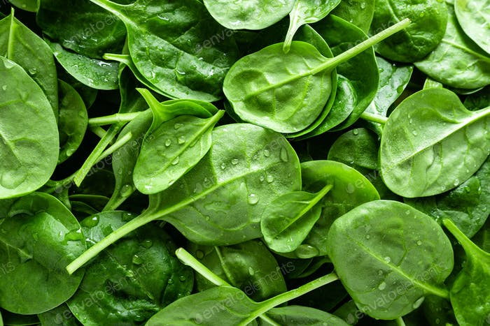 Fresh spinach leaves background. Healthy vegan food. Top view