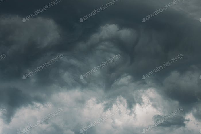 Stormy Sky Before Rain Thunderstorm. Storm Cloudy Sky Background