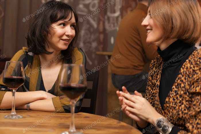 Brunette and blonde hippie young women chatting in a hipster pub