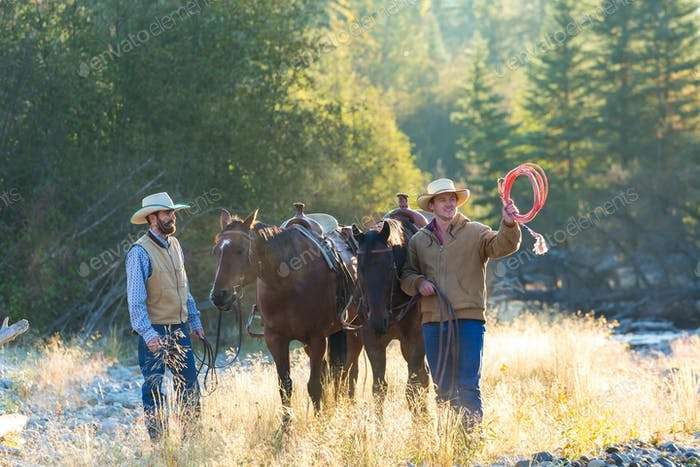 Cowboys and horses, British Colombia, Canada.