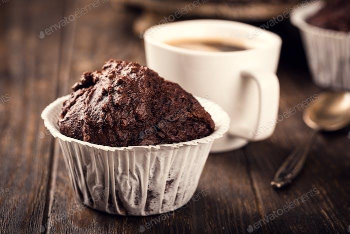 Chocolate muffins with banana